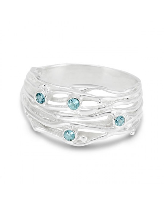 Silver Stranded Ring with Blue Topaz - RINGS