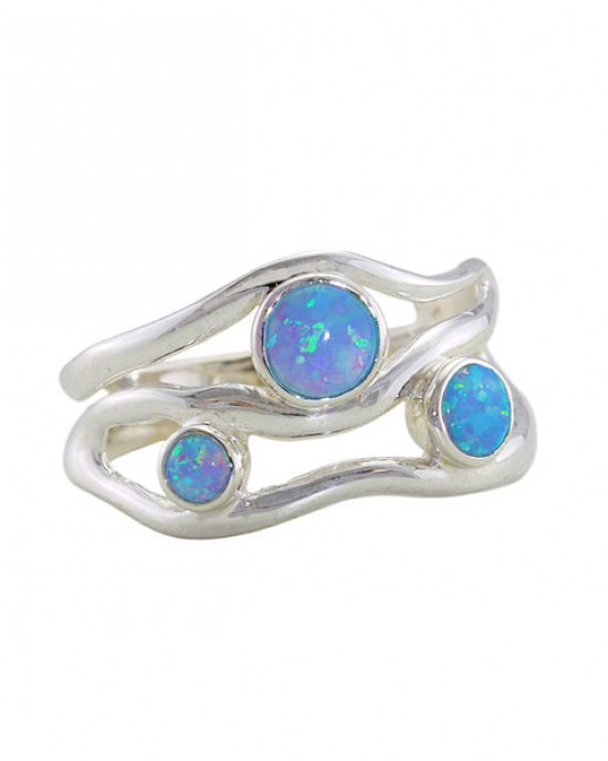 Silver Ring with Three Opalites