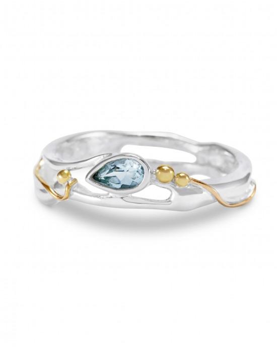 Teardrop Blue Topaz Silver Ring - RINGS