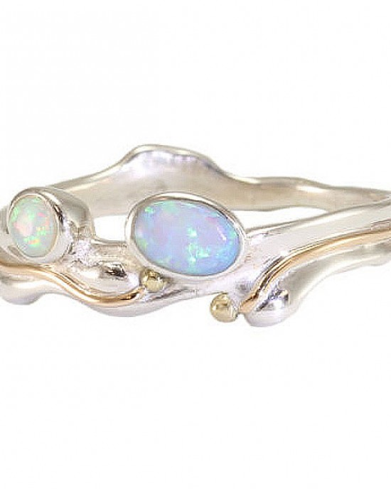 Two Opalites Silver Ring
