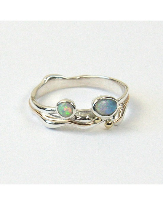 Two Opalites Silver Ring, goldfill - RINGS