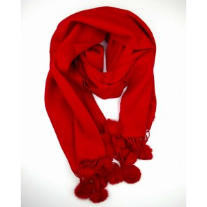 Crimson Red Wool Scarf with Pompoms