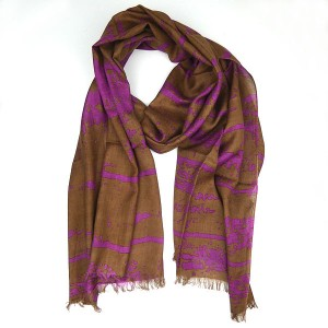 Abstract Cotton and Viscose Scarf Choco