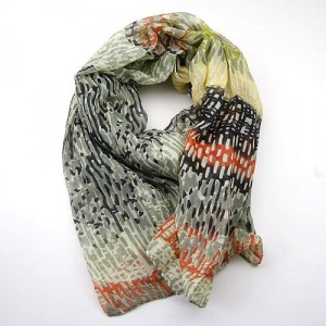 Abstract Long Scarf in Cream Coral and Grey