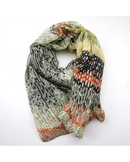 Abstract Long Scarf in Cream Coral and Grey - SCARVES, SHAWLS, PASHMINAS