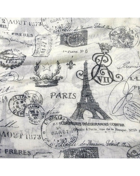 Beige and Grey Long Scarf with Parisian Scenes - SCARVES, SHAWLS, PASHMINAS