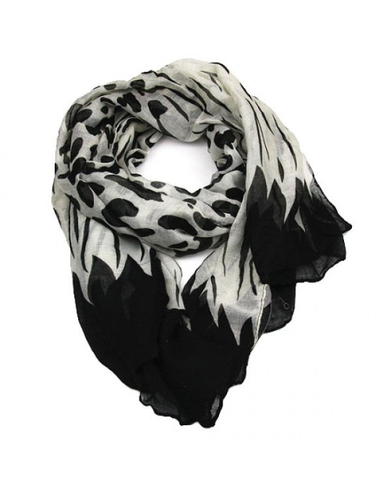Black and White Abstract Long Scarf - SCARVES, SHAWLS, PASHMINAS