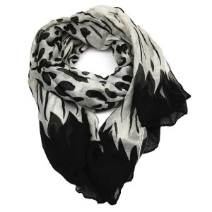 Black and White Abstract Long Scarf