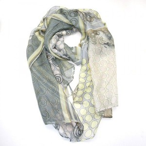 Blue Grey Soft Yellow Chiffon Scarf