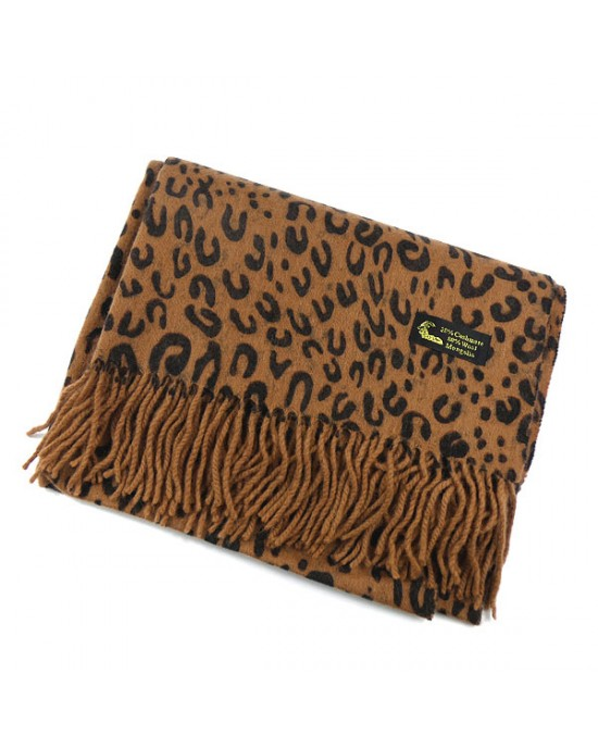 Brown Animal Print Cashmere & Wool Scarf - WOOL & CASHMERE SCARVES