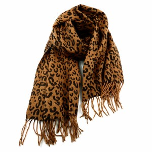 Brown Animal Print Cashmere & Wool Scarf