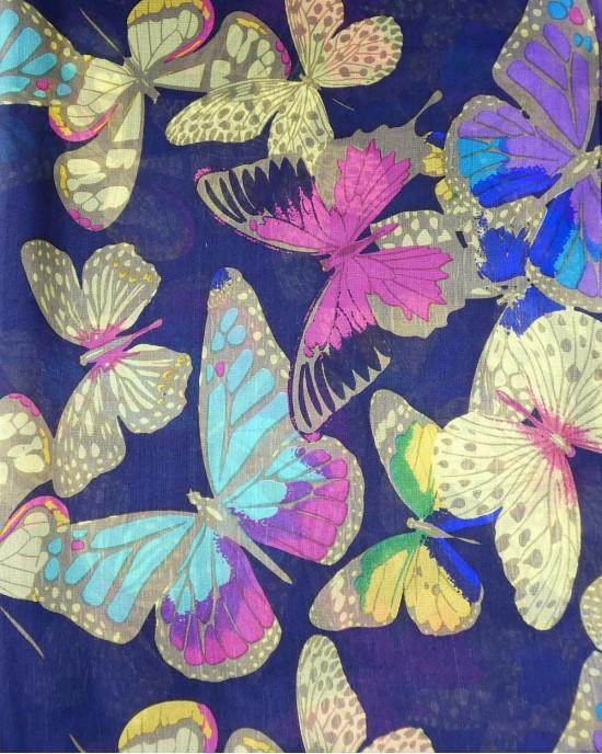 Butterflies Silk Scarf, Navy - SCARVES, SHAWLS, PASHMINAS