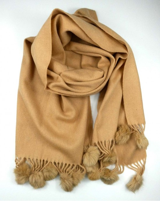 Caramel Wool Mix Scarf with Pompoms - SCARVES, SHAWLS, PASHMINAS