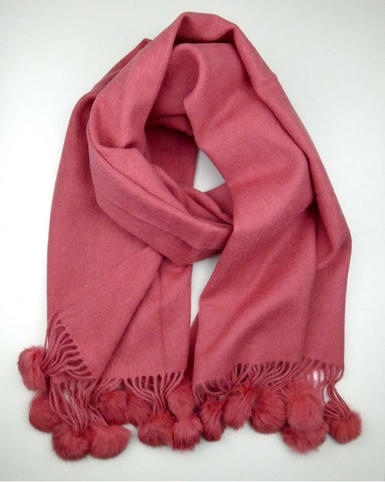 Coral Rose Wool Scarf with Pompoms - WOOL & CASHMERE SCARVES