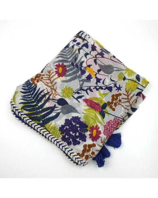 Cotton Wild Flower Scarf - SCARVES, SHAWLS, PASHMINAS