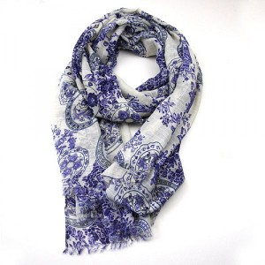 Cream Blue Floral Long Scarf with Chinese Design
