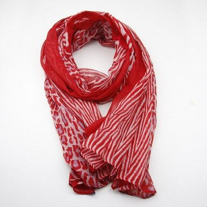 Crimson Large Animal Print Scarf
