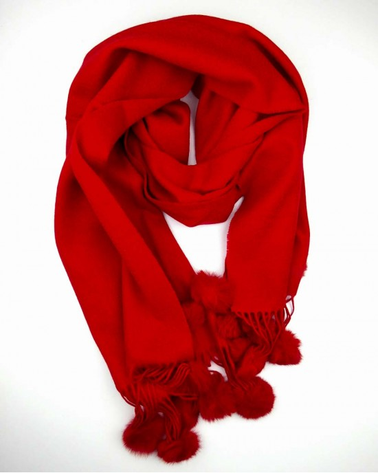 Crimson Red Wool Scarf with Pompoms - WOOL & CASHMERE SCARVES