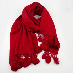 Dark Red Wool Scarf with Pompoms
