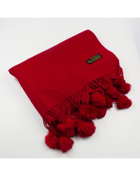Dark Red Wool Scarf with Pompoms - WOOL & CASHMERE SCARVES