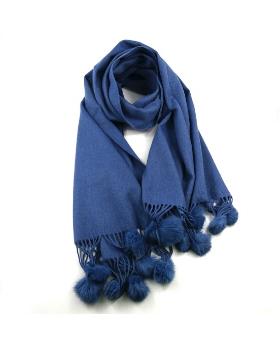 Denim Blue Pure Wool Scarf with Pompoms - WOOL & CASHMERE SCARVES