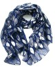 Silver Leaves Scarf Blue