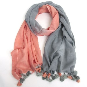 Cotton Peach Grey Pom Pom Scarf