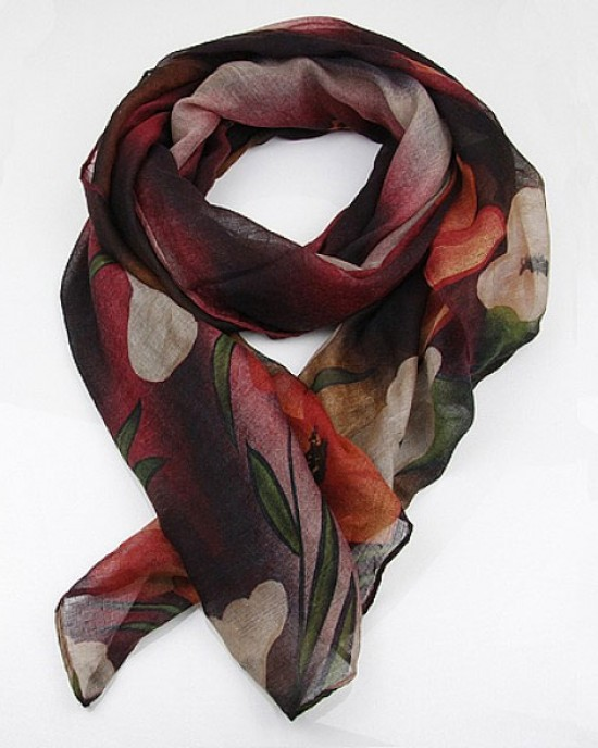Floral Print Polyester Scarf