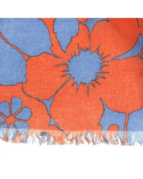 Floral Printed Scarf in Jaffa Orange - SCARVES, SHAWLS, PASHMINAS