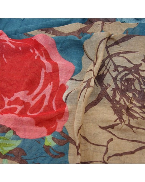 Green Blue Floral Print Scarf - SCARVES, SHAWLS, PASHMINAS