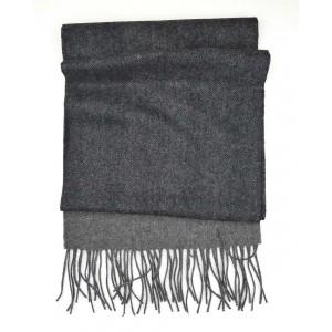 Herringbone Wool Scarf in Dark & Light Grey