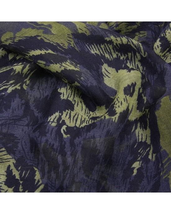Grey Leopard Head Long Scarf - SCARVES, SHAWLS, PASHMINAS