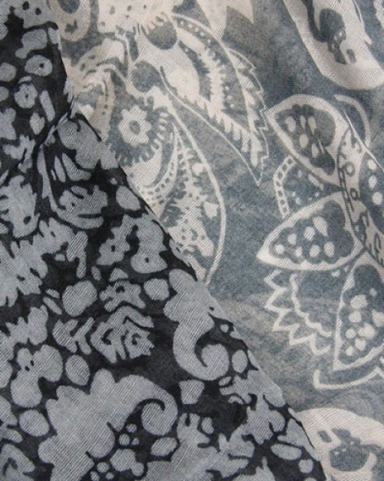 Grey Paisley Abstract Scarf