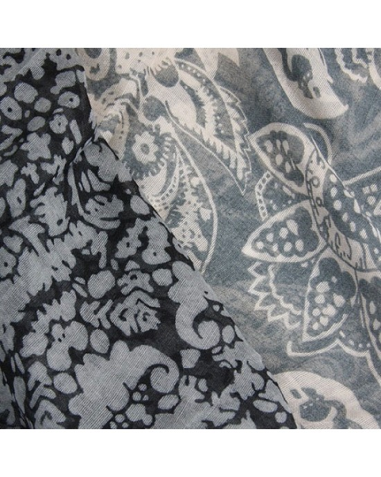Grey Paisley Abstract Scarf - SCARVES, SHAWLS, PASHMINAS