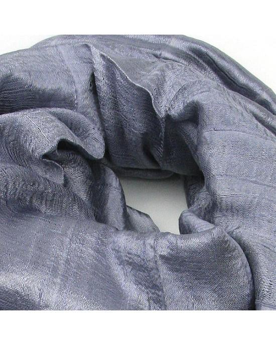 Grey Pure Silk Scarf Shawl - SCARVES, SHAWLS, PASHMINAS