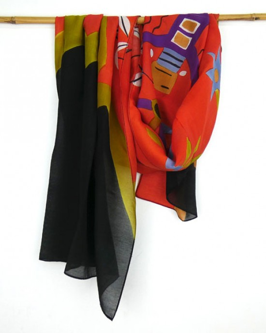 Hand Painted Silk Cotton Scarf Red Black