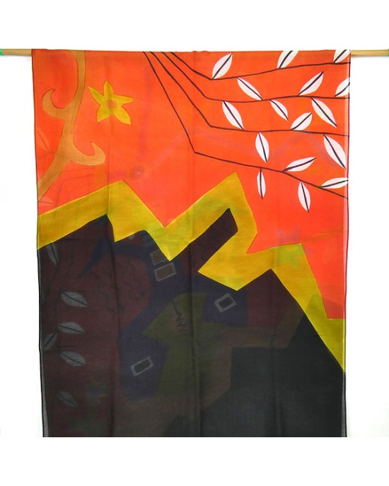 Hand Painted Silk Cotton Scarf Red Black - SCARVES, SHAWLS, PASHMINAS