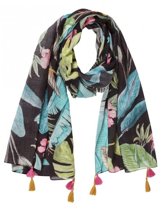 Hawaiin Nights Scarf - Leaves, Charcoal
