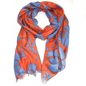 Floral Printed Scarf in Jaffa Orange