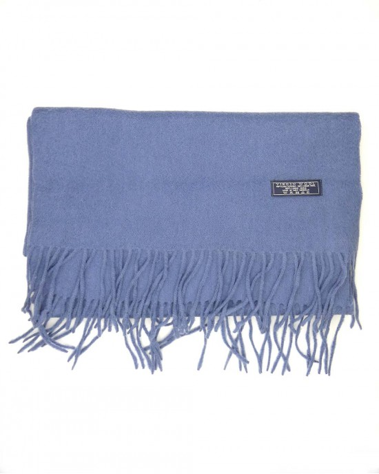 Lambswool Scarf in Denim Blue - WOOL & CASHMERE SCARVES