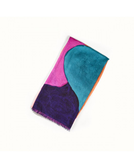 Large Pink Turquoise Abstract Scarf - SCARVES, SHAWLS, PASHMINAS