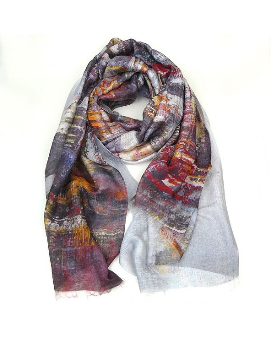 Large Silk Modal Scarf with Cityscape Design - SCARVES, SHAWLS, PASHMINAS