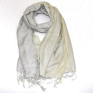 Layered Soft Cotton Viscose Scarf Shawl Soft Gold Grey