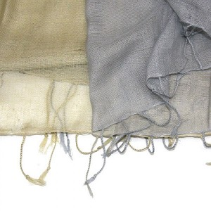 Layered Soft Cotton Viscose Scarf Shawl Soft Gold Grey