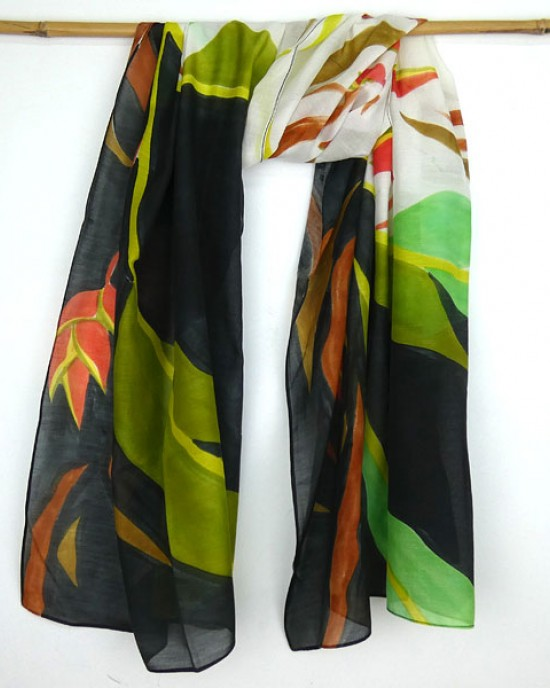 Hand Painted Silk Cotton Scarf Green Black