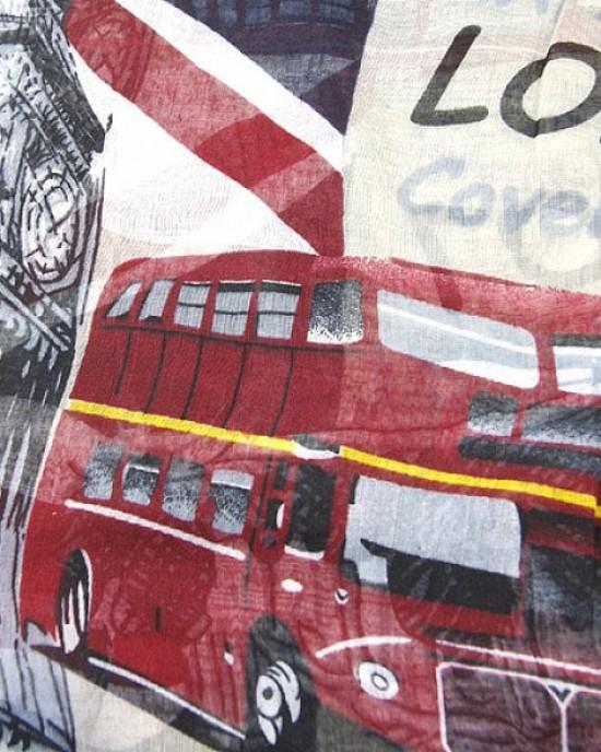 Cream Long Scarf London Scenes