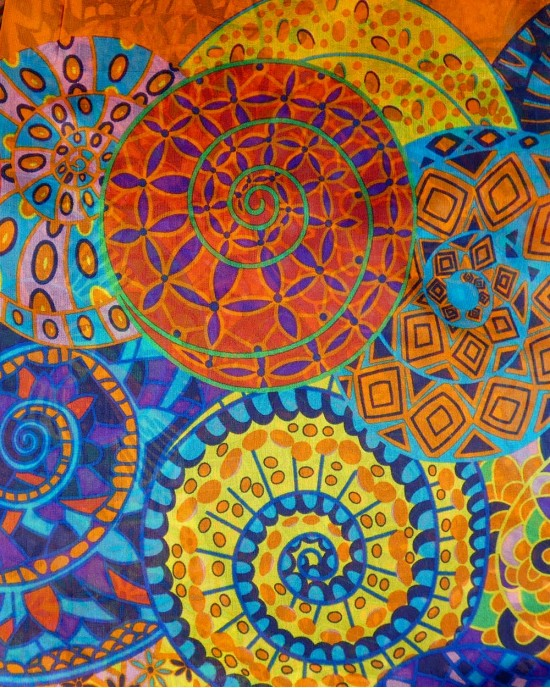 Magenta Silk Scarf - Geometrical - SCARVES, SHAWLS, PASHMINAS