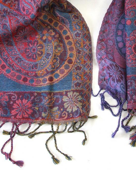 Paisley Merino Wool Scarf Celestial