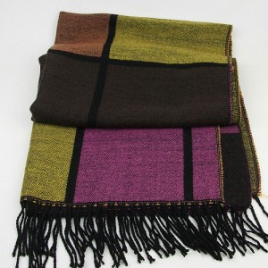 Terry Checks Scarf in Mustard Pink Brown