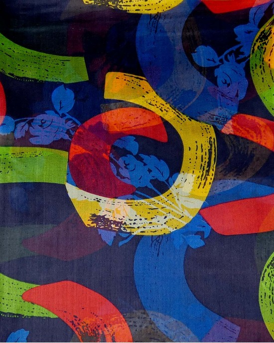 Navy Floral Abstract Silk Scarf - SCARVES, SHAWLS, PASHMINAS